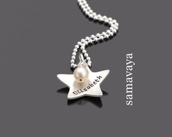 Children's chain star shooting 925 silver necklace with engraving children's Jewelry