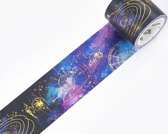 Galaxy Gold Foil Washi Tape, Sky Space Washi Tape, Japanese Washi Masking Tape, Stars, Constellations, Planets, Milky Way, Orbit, Starry