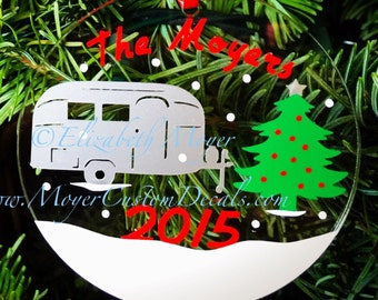 Custom Personalized Airstream Christmas Ornament - Vintage Silver Camper - Acrylic With Decals