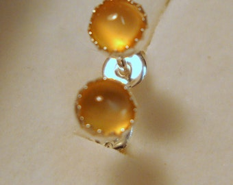 Earrings Peach Moonstone 4mm  posts studs bezel set - eco friendly sterling silver from recycled sources - Warm Sparklies