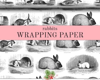 Rabbits Black And White Wrapping Paper | Custom Woodland Bunny Gift Wrap Paper 9 Foot Roll or 18 Foot Roll Great For Any Occasion.