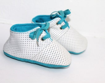 3 - 6 Months Slippers / Baby Shoes Lamb Leather OwO SHOES Blue White
