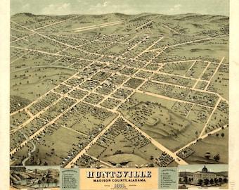 Vintage Map - Huntsville Alabama 1871