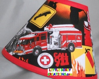 Emergency Fireman Fire Truck Firetruck Fabric Lamp Shade (10 Sizes To  Choose From!)
