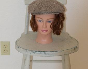 Brown Wool Tweed 'Totes' Newsboy Cap / Driving Cap - Medium