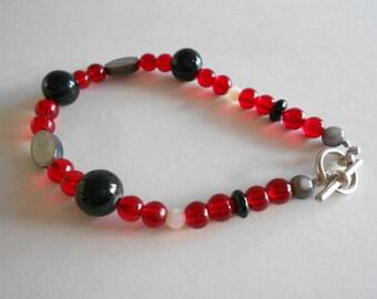 Red Bracelet Glass Beads Bracelet White Shell Beads Black Jade Beads Black Shell Beads Black Bracelet White Bracelet Glass Beads