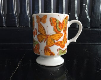 8oz Japanese Porcelain Orange Kiwi Green Milk Glass Butterfly Pedestal Mug Cup