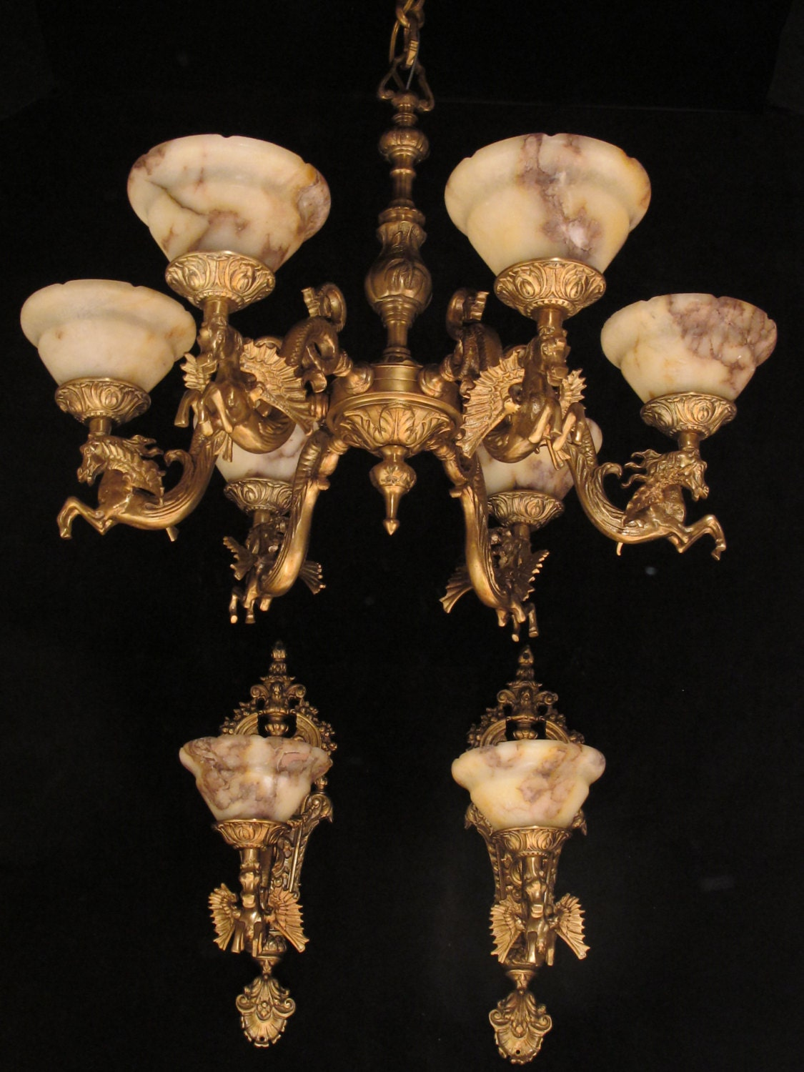 Set of chandelier and pair of wall lights with winged horse bronze set of chandelier and pair of wall lights with winged horse bronze sculptures by sergio merlin aloadofball Choice Image