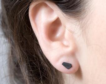 Oxidized Silver Stud Earrings, Black Stud Earrings, Geometric Stud Earrings, Black Nugget Earrings, Tiny Stud Earrings Silver, OOAK
