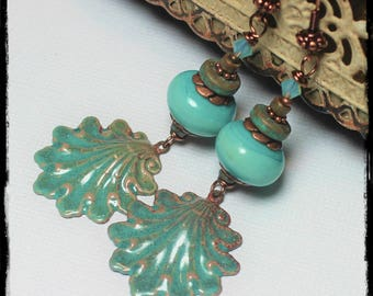 Handmade, Jewelry, Earrings, Beaded, Lampwork, Enamel, Crystal, Antique Copper, Teal, Aqua, Turquoise, Verdigris, Seashell, Shell, Beach