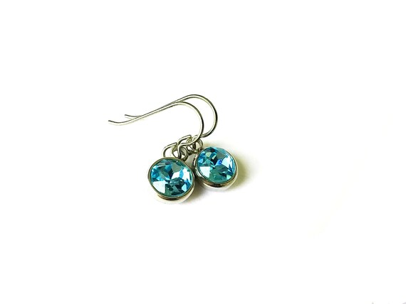 Aqua blue rhinestone faceted dangle earrings - Pure titanium, stainless steel and rhinestone