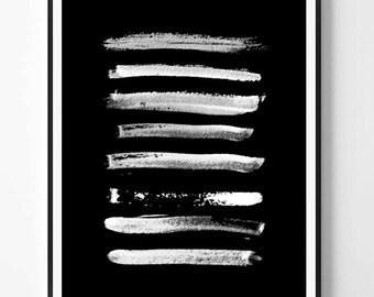Modern Minimalist Print, Black and White abstract, Brush stroke, Printable minimal ink, Instant Download, Minimal Print, Scandinavian print