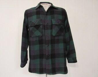 Vintage shirt, plaid shirt, 1950s shirt, work shirt, King Kole shirt, vintage plaid shirt, vintage clothing, medium