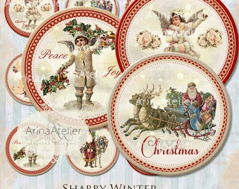 Shabby Winter Circles 2,5 inch - Stickers circles- 2,5 inch Christmas Stickers - Christmas - Vintage Christmas Tags - Digital collage sheet