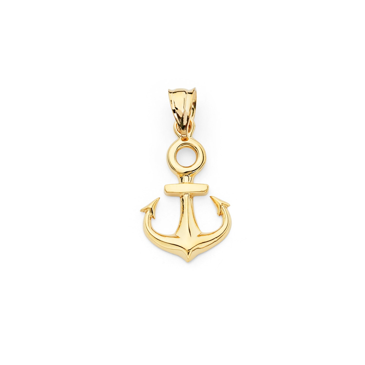 14K Yellow Gold Anchor Pendant Anchor Necklace Gold Anchor