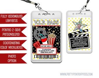 Movie Party VIP Pass Lanyard Invitations - Movie Night Birthday - Movie Invitations - Movie Birthday Invite - Movie VIP Pass Invitation