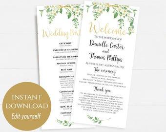 Wedding Program Template Wedding Program Printable Ceremony Printable Template Wedding Welcome Template PDF Instant Download DIY 4x9 Jasmine