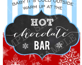 HOT CHOCOLATE BAR Sign Kit Chalkboard  Printables Winter ONEderland or Frozen Party Snowflakes Hot Cocoa