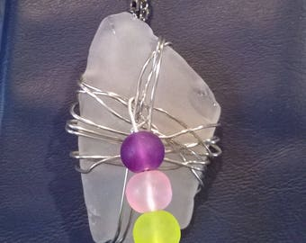 "Wire wrapped sea glass necklace, 22"" chain"