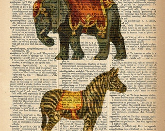 Dictionary Art Print - Elephant and Zebra - Upcycled Vintage Dictionary Page Poster Print - Size 8x10