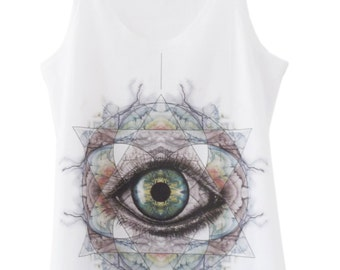 Tank top • ALL SEEING EYE esoteric (white) - Collection limited-