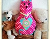 Cerise pink polka dot cat...