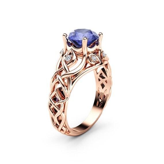 Celtic Bluish Violet Tanzanite Engagement Ring 14K Rose Gold