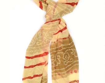 Abstract Print Scarf ⊿ Wedding Scarf ⊿ Extra long scarf ⊿ Abstract orange scarf ⊿ Christmas Gift ⊿ Wife Gift ⊿ Birthday Gift