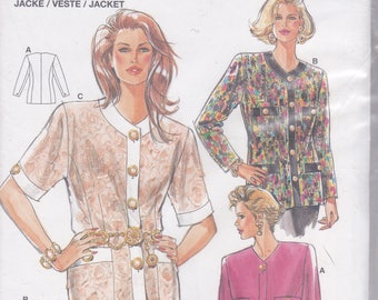 FREE US SHIP Burda 4123 Retro 1990s 90's Jacket Blouse Cardigan  Size 10 12 14 16 18 20 Uncut Bust 32 34 36 38 40 42 Sewing Pattern