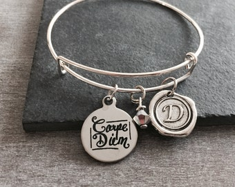 Carpe diem, seize the day, don't worry, Carpe diem Bracelet, Inspire, Inspiration, Quote, Silver Bracelet, Charm Bracelet, Silver Jewelry,
