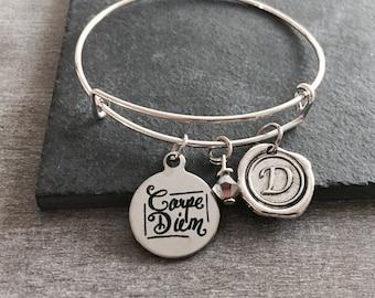 Carpe diem, seize the day, don't worry, Carpe diem Bracelet, Inspire, Inspiration, Quote, Silver Bracelet, Charm Bracelet, Silver Jewelry,