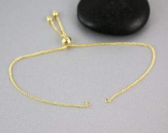 Adjustable Bracelet Finding - 14k Gold - Bracelet Finding - 1mm Chain