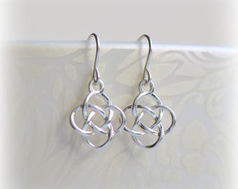 Celtic Knot Earrings Silver Dangle Earrings Delicate Earrings Modern Jewelry Gift Sterling Silver Celtic Earrings Gift Dainty Dangle Earring