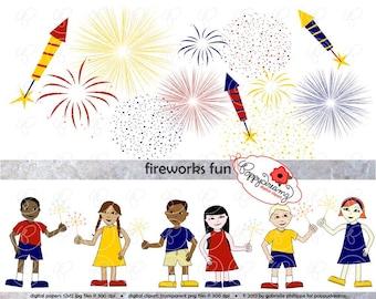 Fireworks Fun Clipart Set: Digital Clip Art Pack (300 dpi) Red White and Blue Digital Sparklers Fireworks July 4 Borders