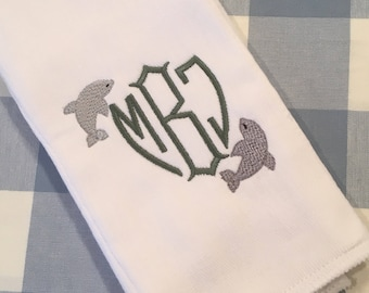 Dolphin Monogrammed Burp Cloth Embroidered Baby
