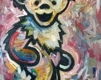 Grateful Dead Art Dancing Bear by Matt Pecson Pop Art Painting on Canvas Wall Art Canvas Painting Original Painting Boho Decor MADE TO ORDER