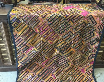 Antique Vintage Indian Tapestry Yellow Embroidered Hand Crafted Wall, Table Decor  FREE SHIP