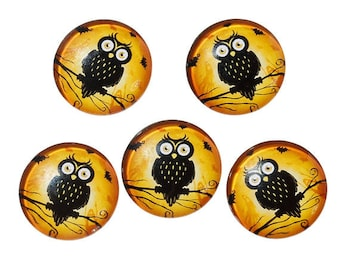 10 Black Owl Round Glass Cabochons 20mm (048)