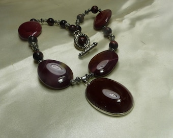 """Beautiful Carnelian, Agate, red tiger eye Necklace -3oz -7grms-16""""-hangs 20""""- toggle-composite2011"""
