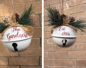 Personalized Christmas Ornament, Jingle Bell Ornament, Family Name Ornament, Personalized Ornament, custom ornament, name ornament,