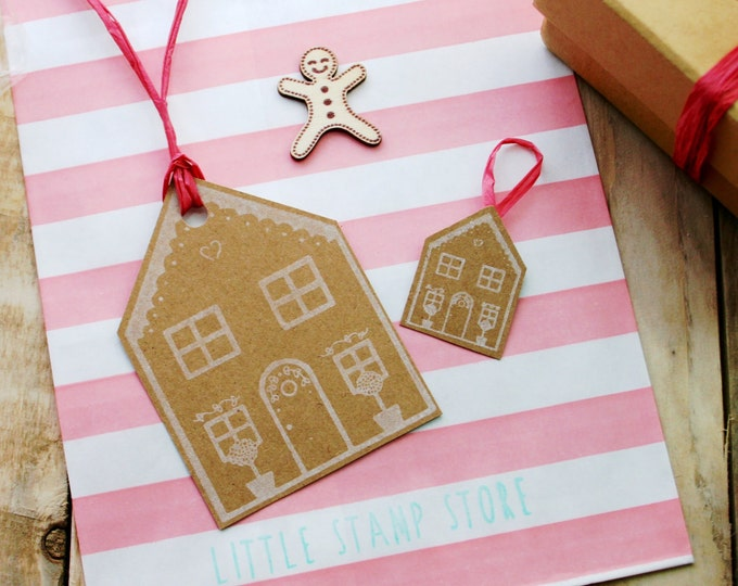 Gingerbread House Stamp - Cookie Stamp - Christmas Gingerbread House - Tree Decorations - Tags - Icing Press - Clear Stamp - Rubber Stamp