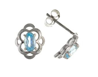 Sterling Silver Celtic Design Blue Topaz Stud Earrings