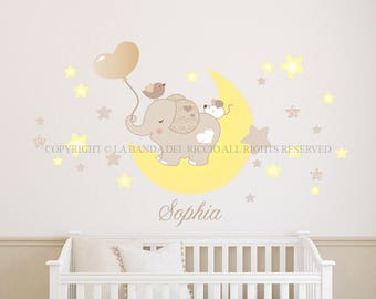 Wall decals kids Wall stickers Baby Nursery Room Decor Tino on the moon