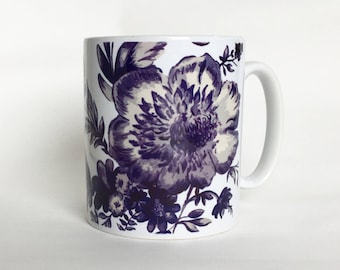 Blue and White Floral Mug