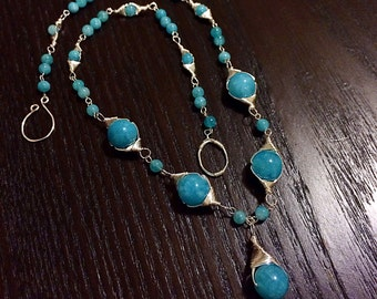 SALE--Aquamarine chalcedony beads necklace handmade with silver wire