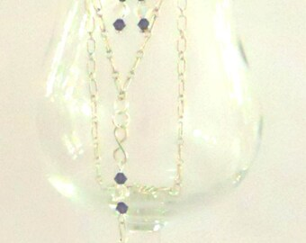 Sterling Silver Chain Earrings and Necklace with Swarovski Crystals