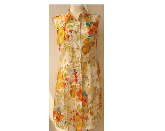 VINTAGE 70s summer see-through MIDI dress, floral pattern, without sleeves with pleated, fastened on buttons,on the lining, M/L size