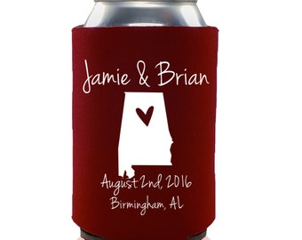 Wedding Favors - Personalized City and State Wedding Can Coolers, Reception Favors for Guests, Beer Insulators - Available in Any State