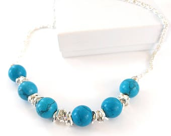 Turquoise Links Gem Bar Necklace