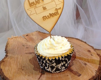 Cupcake toppers-Love is sweet. Set of 24